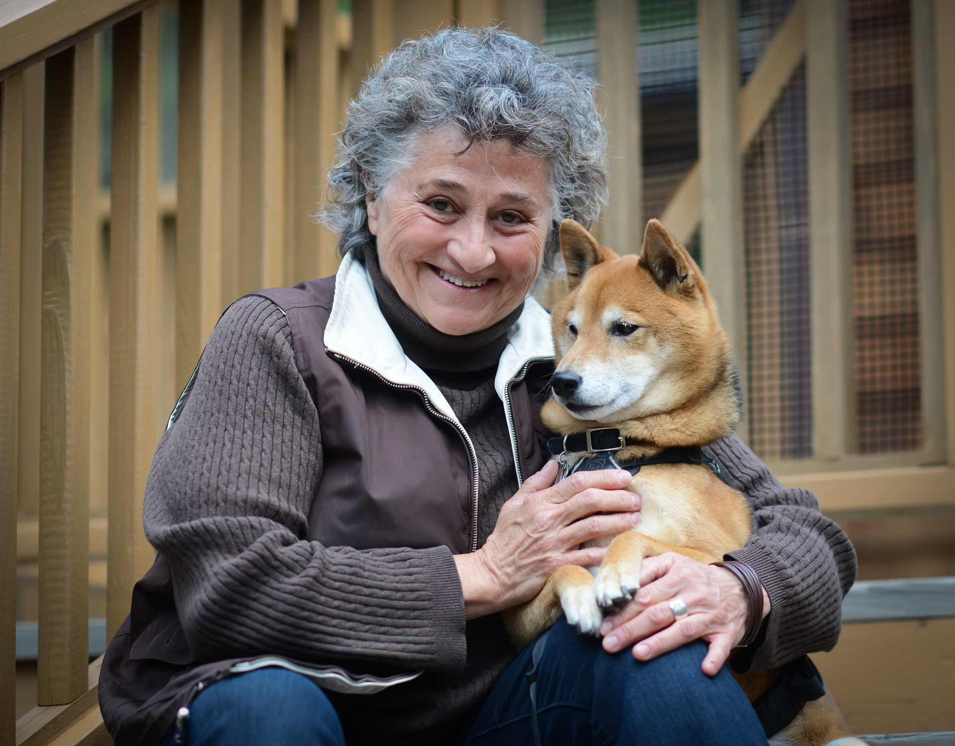 Dr. Capaldo and her rescued Shiba, Kibou